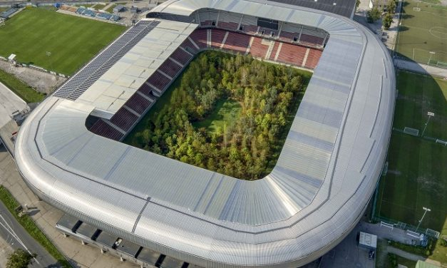 Forest planted in the middle of Austrian football stadium